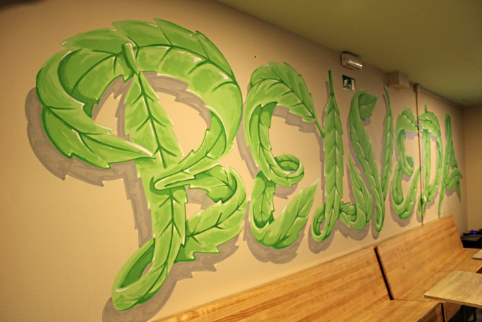Belveda artwork made of Marijuana leaves