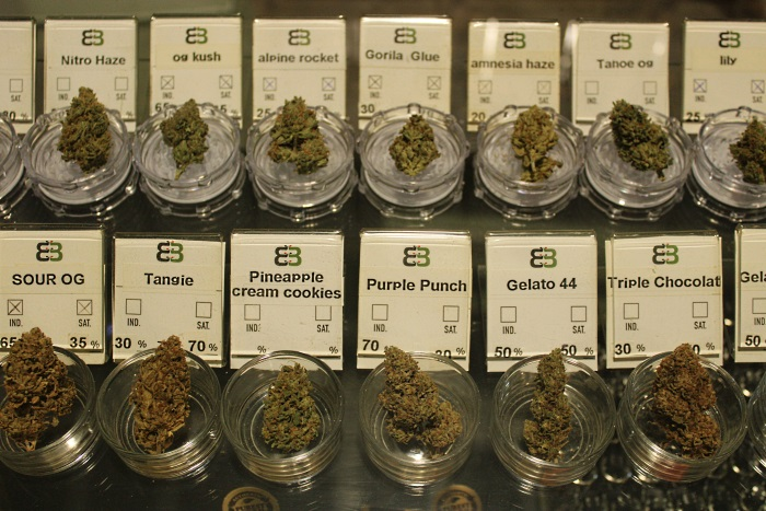 Marijuana products at Belveda cannabis social club in Barcelona, Spain.