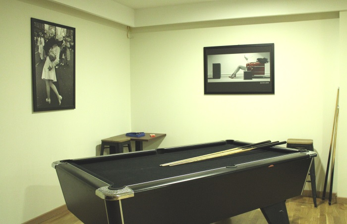 Pool table on the lower half of the club.