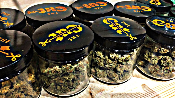 Jars of Cured Cannabis Flower at The Cut Social Club Barcelona