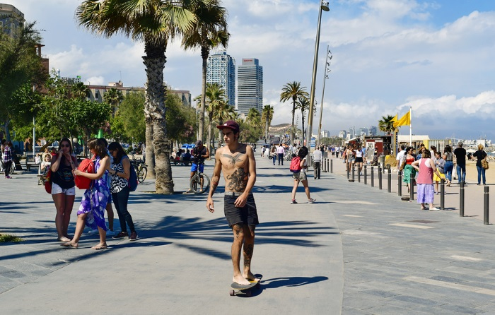 Skateboarding is awesome after smoking weed in Barcelona